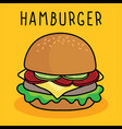 cartoon hamburger cheese and vegetable on vector image