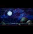 cartoon style night seascape with full moon and vector image vector image