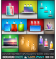 Collection of spotlights with panels with Low Poly vector image