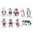 cow cartoon cute farm milk animal character vector image