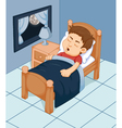 cute boy cartoon sleeping in the bedroom vector image vector image