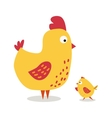 Cute cartoon chicken mother and chuk kid vector image vector image