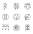 delicious japanese food icons set outline style vector image