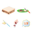 dessert with cream a sandwich and other food vector image vector image