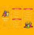 doodle smoothie cafe or restaurant menu vector image vector image