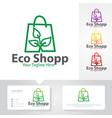 eco shop logo designs vector image vector image