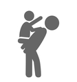 Father and baby play pictogram flat icon isolated vector image