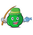fishing brussels mascot cartoon style vector image vector image