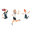 flat business woman dancing jumping set vector image vector image