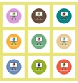 flat icons set of Business pie chart on whiteboard vector image vector image