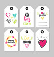 happy mothers day set holiday cards tag shape vector image