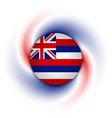 hawaiian flag badge on twisted blue red and white vector image