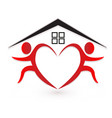 heart team people home logo vector image
