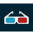 icon glasses 3d cinema design vector image
