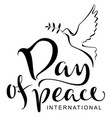 international day of peace text silhouette of vector image
