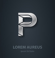 Letter P elegant silver font Template for company vector image vector image