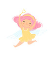 lovely little winged fairy with pink hair vector image vector image