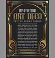 luxury vintage frame art deco style vector image vector image
