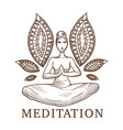 meditation titled sketch a woman in a lotus vector image