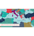 mediterranian sea region detailed editable map vector image vector image