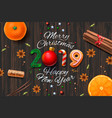 merry christmas happy new year 2019 vintage vector image vector image