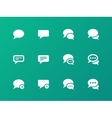 Message bubble icons on green background vector image