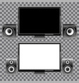Monitors and speakers on a checkered background