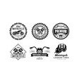 motorcycle club logo set retro badges for biker vector image vector image