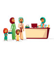muslim family at supermarket checkout counter vector image vector image