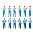 people in jeans gesture happy standing woman and vector image vector image