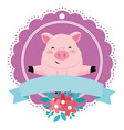 pig with ribbon vector image vector image