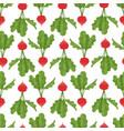 seamless pattern with cartoon radish vector image