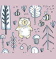 seamless pattern with hand drawn bear in vector image