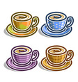 set abstract coffee cups vector image vector image