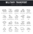 set line icons military transport vector image vector image