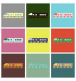 set of icons in flat design train vector image