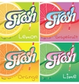 set of labels with fruit and fresh juice vector image vector image