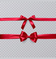 set of realistic red bows on transparent vector image vector image
