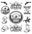 Set of vintage rodeo emblems and designed elements vector image vector image