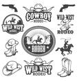 set vintage rodeo emblems and designed elements vector image