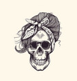stylish human skull with fashionable 1960s vector image vector image