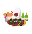 sushi flat colored composition vector image