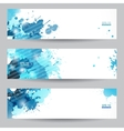 three abstract artistic headers with blue splats vector image vector image
