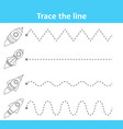 trace line worksheet for preschool kids with rocke vector image vector image