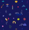 universe rainbow astronaut planet star pattern vector image