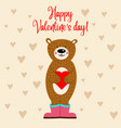 valentines day card with bear vector image