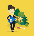 woman collecting garbage in forest vector image vector image
