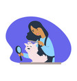 woman making new haircut to canine domesticated vector image