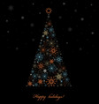 Fir tree from colored snowflakes vector image