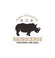 rhino wild animal logo template stock vector image